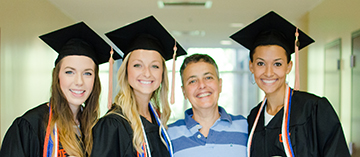 Dr. Orit Shechtman with Emily Maltby, Emily Szafranski and Zari Whittaker, 2015 graduates of the college's bachelor's in health science, pre-OT track.